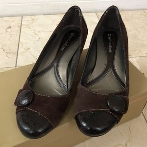 Brown Naturalizer Rounded Button Toe Wedge